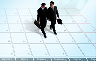 Two men walking across calendar page